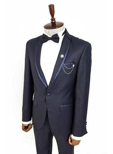 Wessi Yaka Pileli Slim Fit Damatlık Takım Elbise Kombini Lacivert